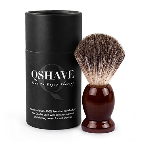 (QSHAVE 100% Best Original Pure Badger Hair Shaving Brush Handmade. Real Wood Base. Perfect for Wet Shave, Safety Razor, Double Edge Razor)