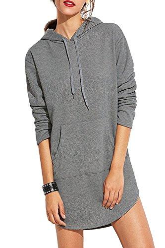 Minetom Mujer Otoño Sudaderas con Capucha Manga Larga Vestidos Con Bolsillo Suelto Mini Vestido Sweatshirt Gris