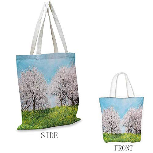 (Floral Shopping bag is easy to carry Japanese Spring Scenery Grass Wildflowers Cherry Trees Pink Blossoms Panorama Full color shopping bag W15.75 x L17.71 Inch Aqua Pink Green )
