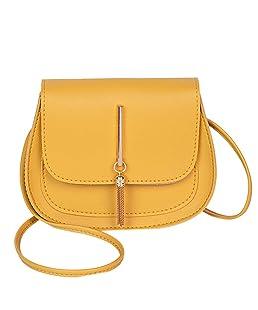 LEKODE Women Shoulder Bags Vintage Fashion Wild Messenger Bag Classic Totes(Yellow)