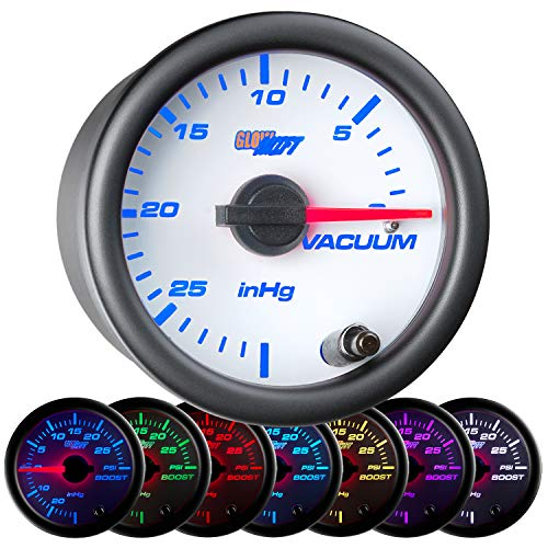 GlowShift White 7 Color Vacuum Gauge Kit - Includes Mechanical Hose & T-Fitting - White Dial - Clear Lens - 2-1/16