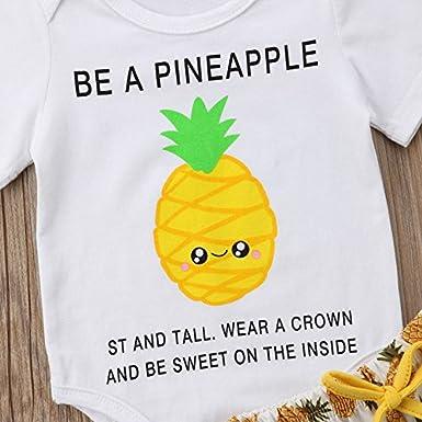 MOVEmen Infant Baby Boy Girl Pineapple Print Jumpsuit Romper Bodysuit+Headband Outfits Fringe Vest Triangle Shorts