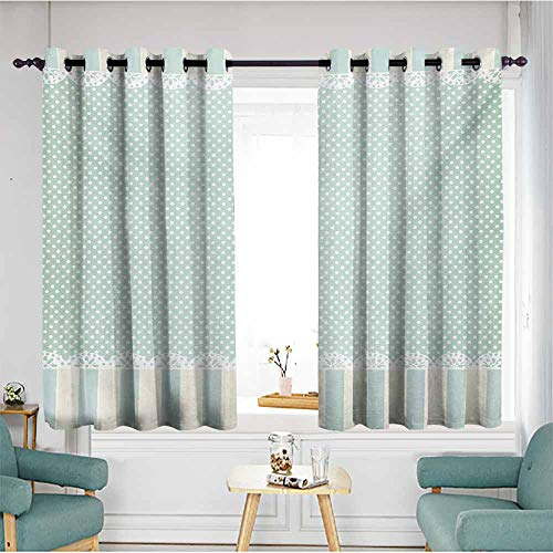 AndyTours Custom Curtains,Shabby Chic Traditional Old Fashioned Vertical Stripes Ornaments and Dots,for Bedroom Grommet Drapes,W55x39L,Almond Green Cream White