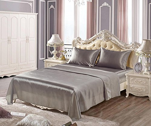 DuShow Gray Imitated Silk 4 Piece Bed Sheets Set, Gold Flat