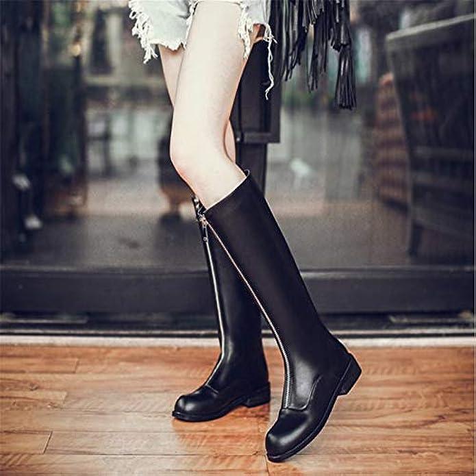 Shirloy Temperamento Martin Stivali Cerniera Anteriore In Pelle Da Caviglia Con A Tacco Basso Donna Di Grandi Dimensioni
