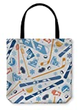 Gear New Shoulder Tote Hand Bag, Winter Sports Pattern With Equipment Flat Icons, 13x13, 26008GN