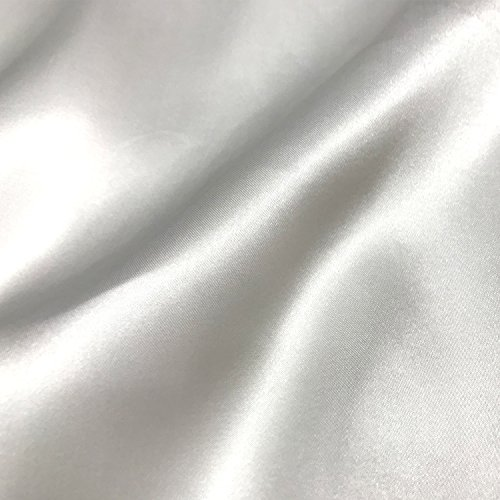 (60 inch Stretch Satin Fabric Bridal Material Bolt by The 5 Yard (White))