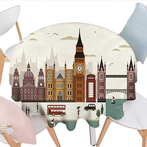longbuyer London Round Tablecloth Attractive Travel Scenery Famous City England Big Ben Telephone Booth Westminster Party Tablecloth 50