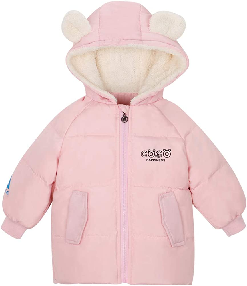 Baby Mädchen Rosa Mantel Kinder Daunenjacke Kinder Kapuze Winter Warm Kapuze Top