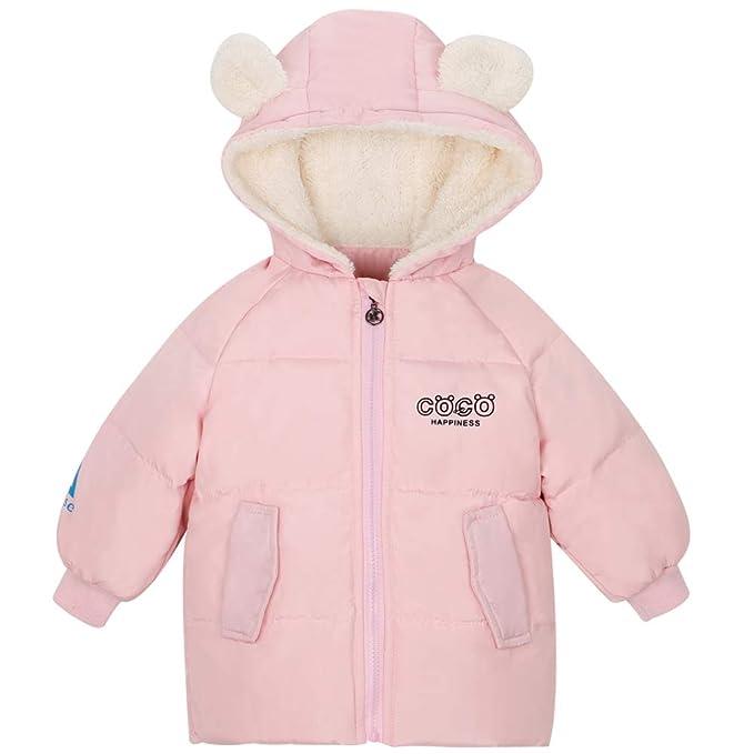 new style b4c24 9fb46 CARETOO Mädchen Winterjacke Mit Kapuze Kinderjacken Fell Warm Winter Coat  Mantel Jacke Dicke warme Kleidung