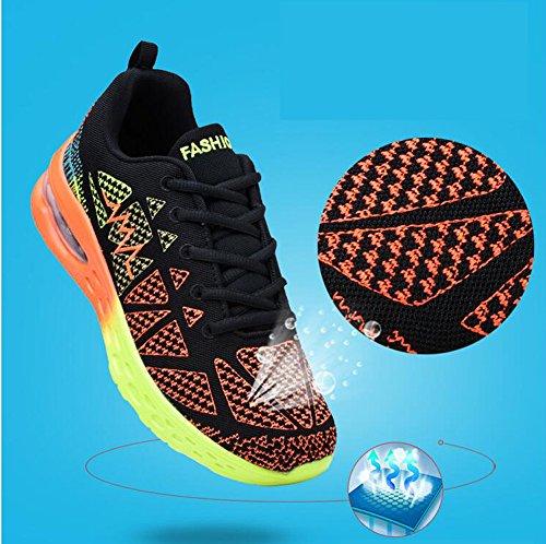 CIOR Männer und Frauen Leichte Laufschuhe Fashion Breathable Turnschuhe Casual Athletisch Sportschuhe 01 Schwarz - Orange