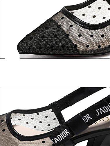 Baotou sandals women's shoes summer with sandals Korean ladies sexy hollow high heels Flat Sandals,Fashion sandals (Color : B, Size : 37) B