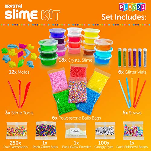 Play22 DIY Slime Kit for Kids - 18 Color Crystal Slime Making Kit, Includes Colorful Foam Balls, Fruit Face, Eyes, Stars, Glitter, Beads, Molds, Straws, Glow in Dark Powder and Much More – Original by Play22 (Image #4)