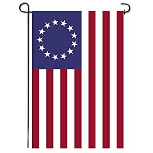 Shmbada Betsy Ross 13 Star American Burlap Garden Flag, Double Sided Premium Fabric,US Patriotic Outdoor Decorative Banner for Home Garden Yard Lawn Porch, 12.5 X 18.5 Inch