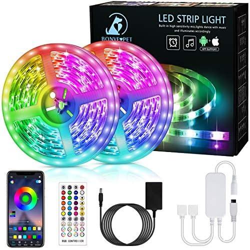 chollos oferta descuentos barato Bonve Pet 12M Tiras LED RGB 5050 Bluetooth Musical Tiras LED 12V Tiras de Luces LED Iluminación Control de APP y Remoto Control de 40 Teclas 16 Millones de Colores Modo Temporizador