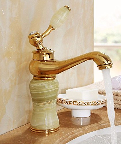 AWXJX Sink Taps European style copper Hot and cold Wash your facePots bathroom Golden ceramics Seated jade Single hole by AWXJX Sink faucet