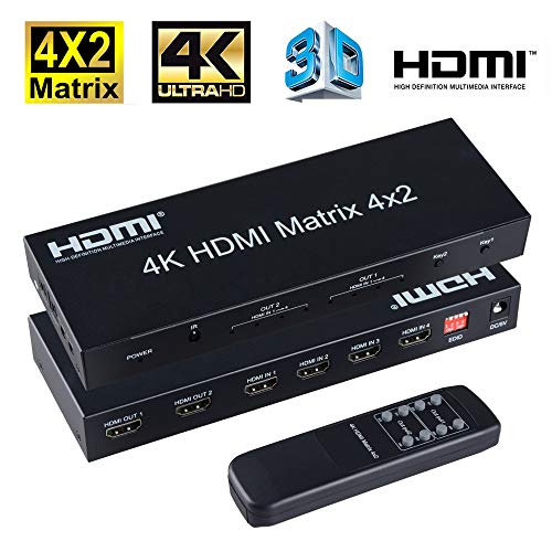FERRISA 4x2 HDMI Matrix Switch,4 in 2 Out Matrix HDMI Video Switcher Splitter +Optical & L/R Audio Output,Support Ultra HD 4K x 2K,3D 1080P,Audio EDID Extractor with IR Remote Control &Power Adapter