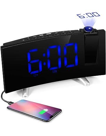 iLifeSmart Radio Despertador Digital Reloj con Proyector, Reloj FM con Alarma Doble, Puerto USB