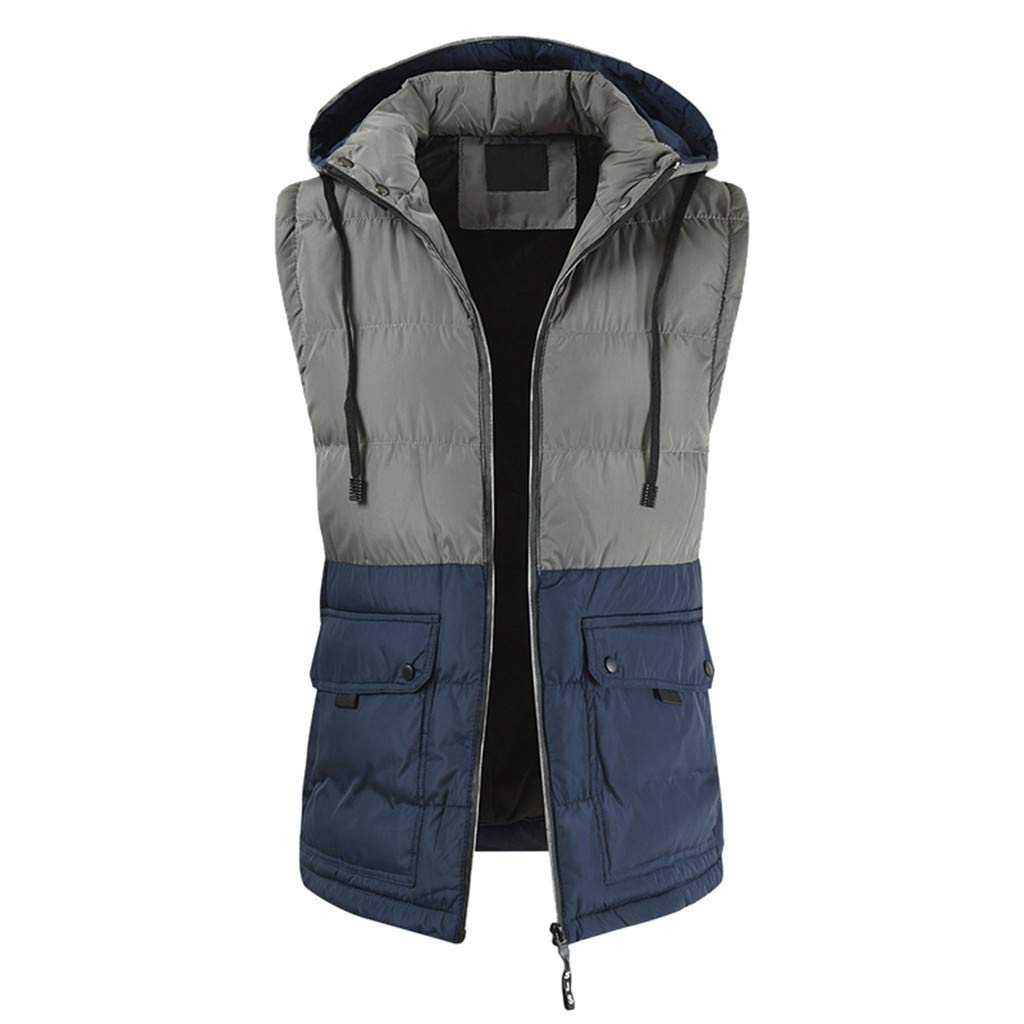 WINJUD Mens Outwear Hooded Drawstring Vest Jacket Color Block Sleeveless Tops(Blue,XL) by WINJUD