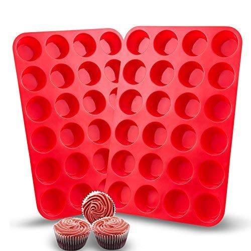 - Auxcuiso 24 Cups Mini Muffin Molds Silicone Non Stick Set of 2 Packs Red