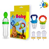 baby bottles for solid food - Baby Food Feeder Fresh Fruit Nibbler Squeeze Bottle Spoon Hygienic Cover Newborn Teeth Pacifier with Soothe Meshes Extra All Sizes Silicone Pouches Solid Nipple for Kids Toddlers Infants Teething