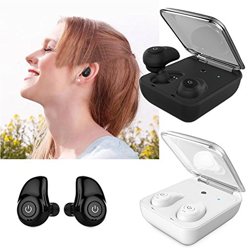 Price comparison product image Mini Wireless Bluetooth Headset With 4.1 TWS Twins Stereo In-Ear Earphones Earbuds By Makaor (As picture, White)