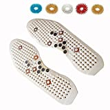 PERCARE Acupressure Reflexology Magnetic Massage Shoe Insoles + 5pcs Sujok Finger Massager Rings One Size Cut To Size In Your Shoes White by PerCare