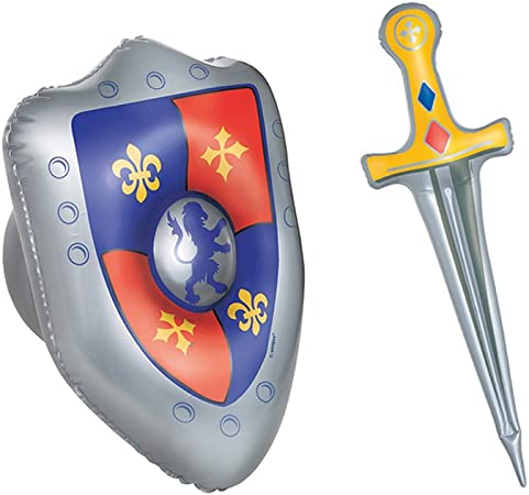 INFLATABLE SHIELD WITH SWORD 62cm Kids Adult Fancy Dress Accessory BlowUp Toy UK