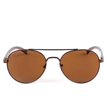 Jiuyizhe Gafas de Sol polarizadas Redondas Retro Gafas de Sol polarizadas Hombres (Color : Tea