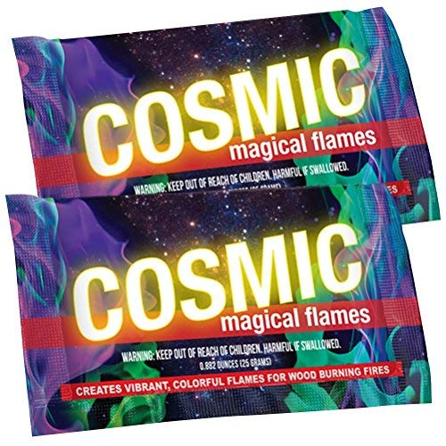 Cosmic Flames - Pack of 25 - Magic Flames - Colored Flames - Long Lasting Campfire Flames - Wood Burning - Brilliant Colors - Safe Fire Colorant - No Mess -