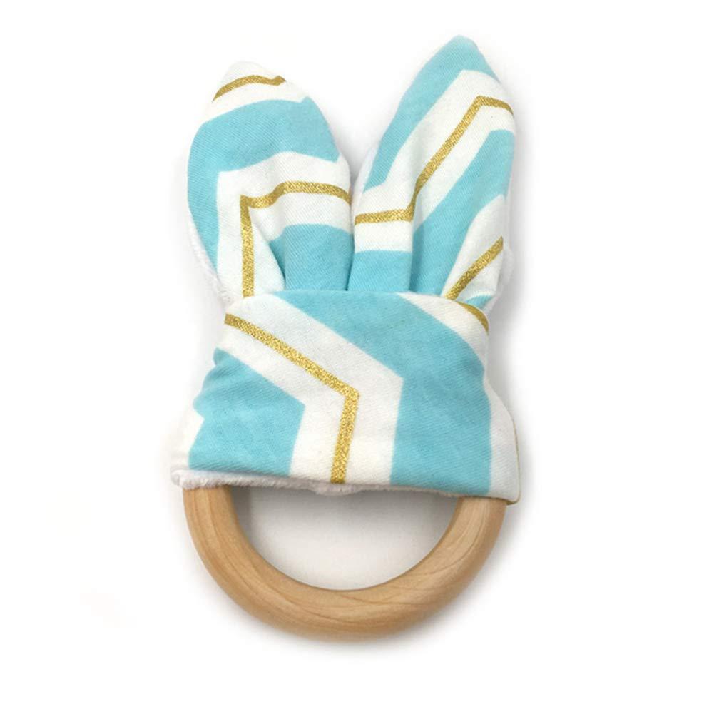 2 bluee gold PinShang Cute Cartoon Rabbit Ear Shape Teether Wood Teething Ring for Baby Infant