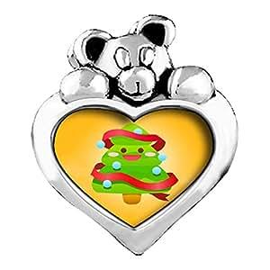 Árbol de Navidad con cristal de zafiro de septiembre de lado de I Love You corazón cariñosito granos del encanto pulseras