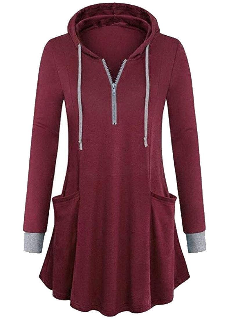 UNINUKOO Unko Womens Half Zip Active Lightweight Hoodie Outdoor Sweatshirt Jacket Pullover