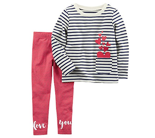 Carter's Girls' 2T-8 2 Piece French Terry Top and Polka-Dot Leggings Set 6-6X]()