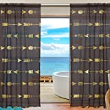 SEULIFE Window Sheer Curtain, Gold Arrows Tribal Ethnic Aztec Pattern Voile Curtain Drapes for Door Kitchen Living Room Bedroom 55x78 inches 2 Panels