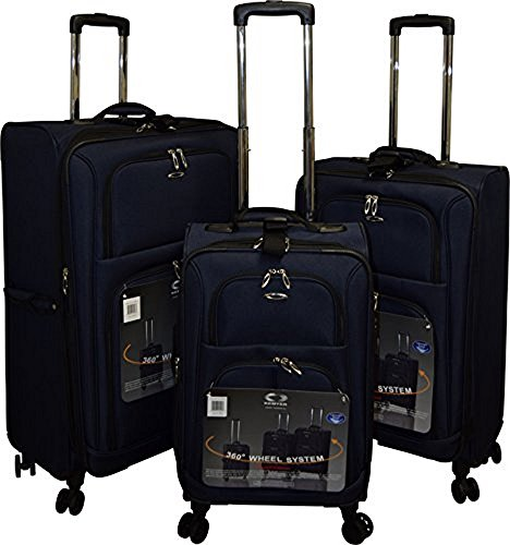 Kemyer 1000 Plus Series 3-PC Expandable Spinner Luggage Set (8 wheel- Navy)