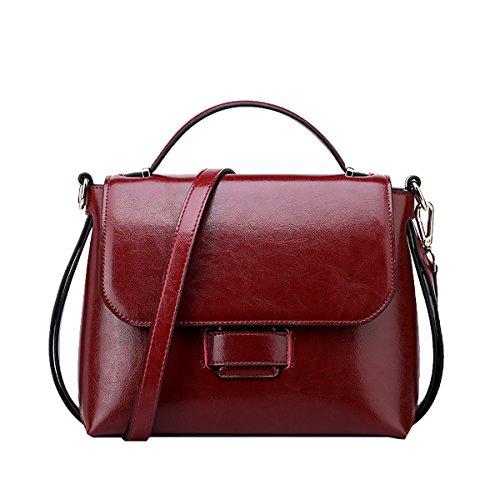 Pockets Multiple Women Soft Bag Shoulder Red Handbags Q0865 Dissa Leather qUXnIx