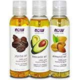 Now Foods Variety Moisturizing Oils Sampler: Sweet Almond, Avocado, and Jojoba Oils - 4oz. Bottles each