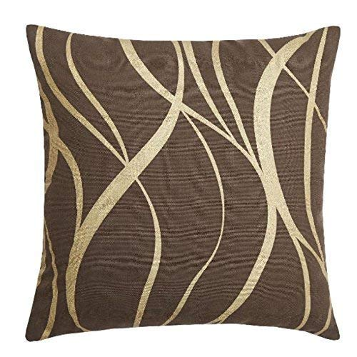 """45CM CUSHIONS 2 X FILLED TWO-TONE METALLIC TAUPE BEIGE GOLD PIPED 18"""""""