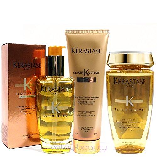 - Kérastase Elixir Ultime Huile Lavante Bain 250ml, Crème Fine 150ml And Original Hair Oil 100ml Bundle