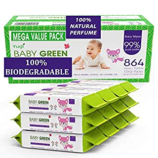 Baby Green Biodegradable Baby Wipes Natural perfume – Value Pack (12 Packs of 72) 864 – compostable 99% Pure Water Plastic FREE Moist Newborn Diaper Wipes, Wet Wipe for Babies & Adults Sensitive Skin