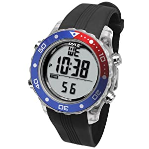 Digital Multifunction Sports Wrist Watch – Waterproof Smart Fit Classic Men Women Water Sport Swimming Fitness Gear Tracker w/ Chronograph, Countdown, Dual Time, Diving Mode – Pyle PSNKW30BK (Black)