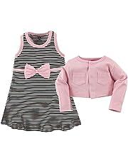 مجموعة ملابس قطنية مكونة من كنزة كارديغان وفستان وحذاء للبنات الرضع من هدسون