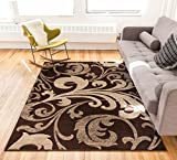Melanie Floral Brown & Beige Modern Geometric Comfy Casual Fleur-de-Lis Hand Carved Area Rug 9x13 ( 9'2'' x 12'6'' ) Easy to Clean Stain Fade Resistant Contemporary Thick Soft Plush Living Dining Room