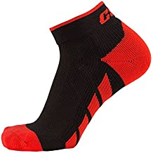 CSX Champion High Ankle Compression Socks, Red on Black, Medium