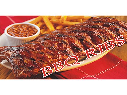 bn1470 Beans, Fries and BBQ Hot Roasted Beef Ribs Banner Sign NEW