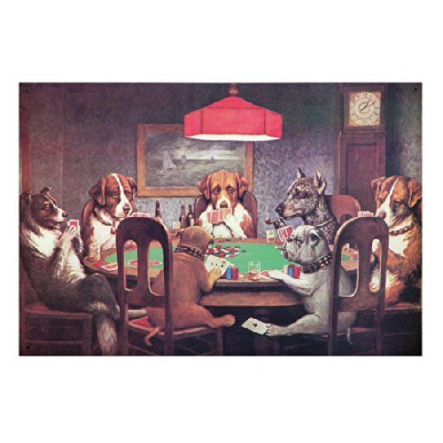 Dogs Playing Poker Metal Sign Dog Metal Signs
