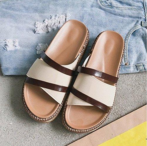 Arrastre AJUNR 36 de zapatillas 3cm la playa zapatos calzado palabra Moda bizcochos 38 Transpirable Sandalias blanco espesor y suelte elegante de ZrxIRAwrq