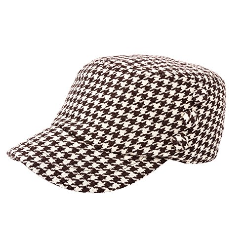 QY Yq Women's Winter Houndstooth Military Hats Cadet