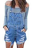 Maternity Ripped Shortalls Denim Bib Overall Shorts for Pregnant Women